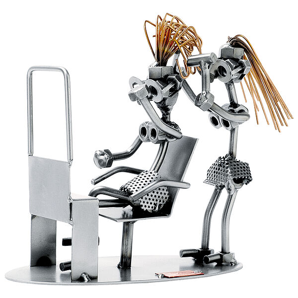 Schraubenmännchen Friseur mit Kunde