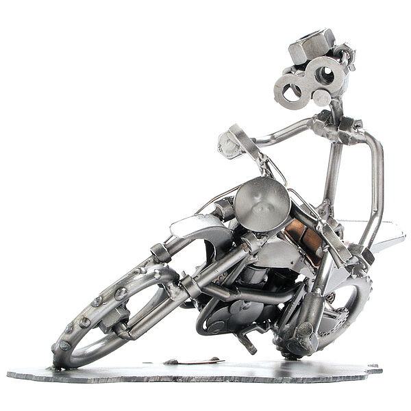 Schraubenmännchen Motocross Motorradfahrer auf seinem Motorrad