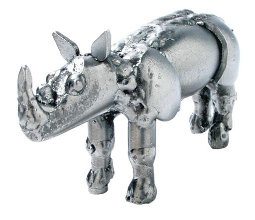 Metallfigur Nashorn