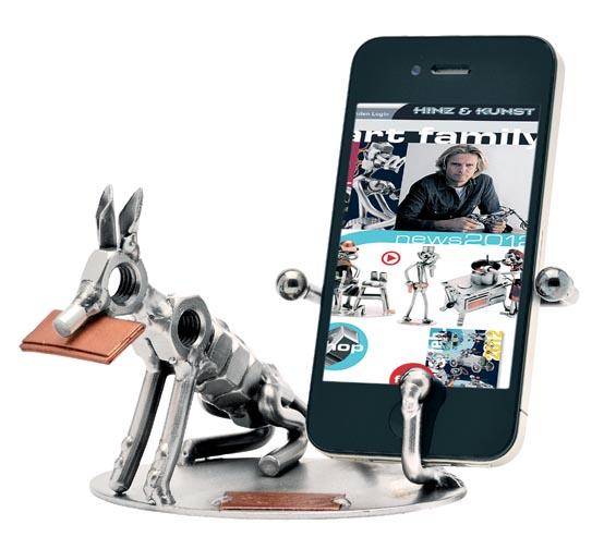 Geschenktipp Handyhalter mit Hund aus Metall