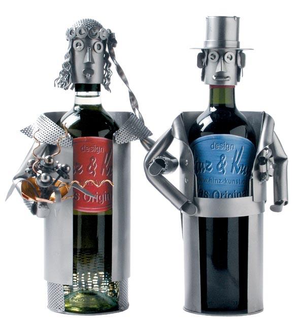 Hochzeitsgeschenk 2 Weinflaschenhalter Hochzeitspaar