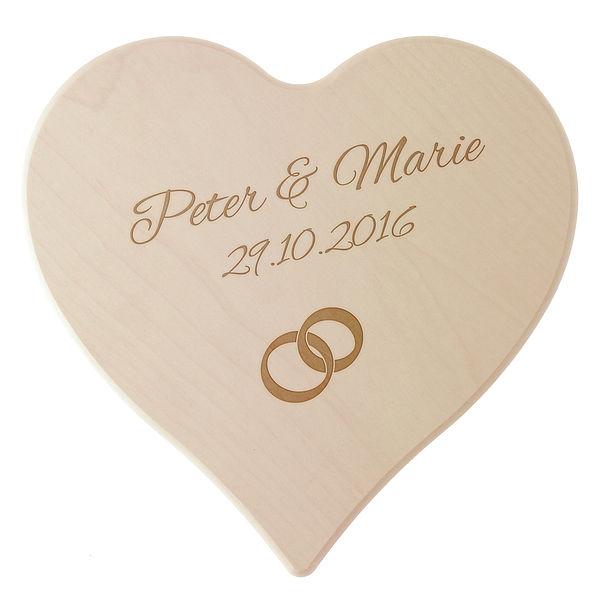 Geschenk zum Hochzeitstag - Holzherz mit Namen, Datum und Wunschsymbol Größe: 24 cm