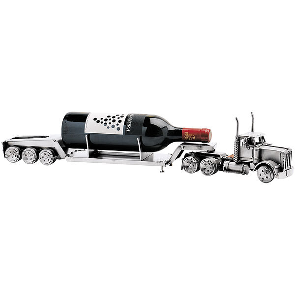 Metallfahrzeug LKW Tieflader als Weinflaschenha...