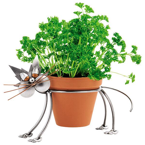 Metallfigur Katze als Blumentopfhalter