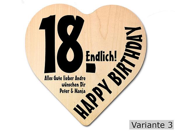 Geschenk zum 18. Geburtstag: Herz Holzschild mit Wunschtext