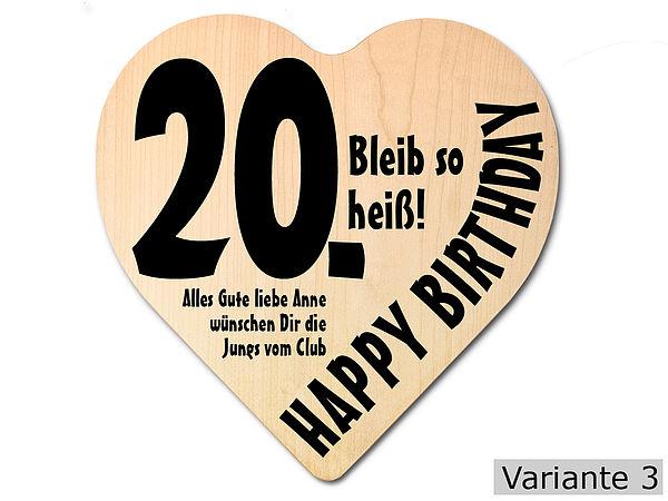 Geschenk zum 20. Geburtstag: Herz Holzschild mit Wunschtext