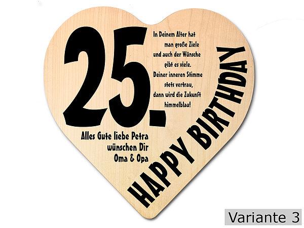 Geschenk zum 25. Geburtstag: Herz Holzschild mit Wunschtext