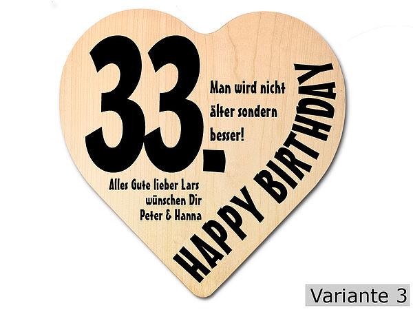 Geschenk zum 33. Geburtstag: Herz Holzschild mit Wunschtext