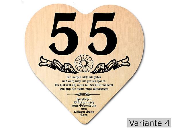 Geschenk zum 55. Geburtstag: Herz Holzschild mit Wunschtext
