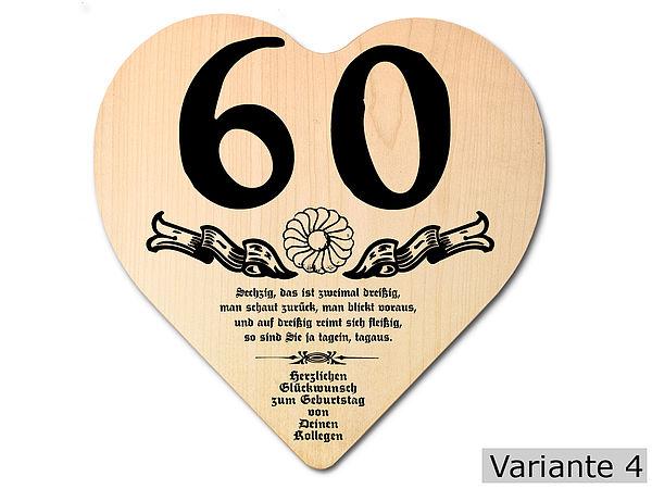 Geschenk Zum 60 Geburtstag Herz Holzschild Mit Wunschtext G4411 Ebay
