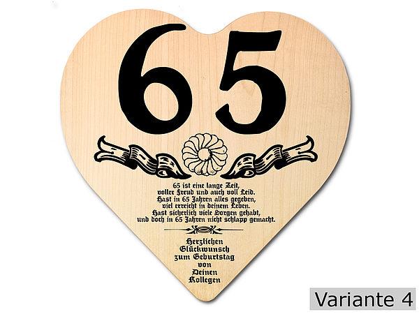 Geschenk zum 65. Geburtstag: Herz Holzschild mit Wunschtext