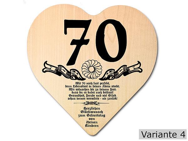 Geschenk Zum 70. Geburtstag: Herz Holzschild Mit Wunschtext   Online  Geschenkeshop Mit Schraubenmännchen Mit Widmung Und Mehr