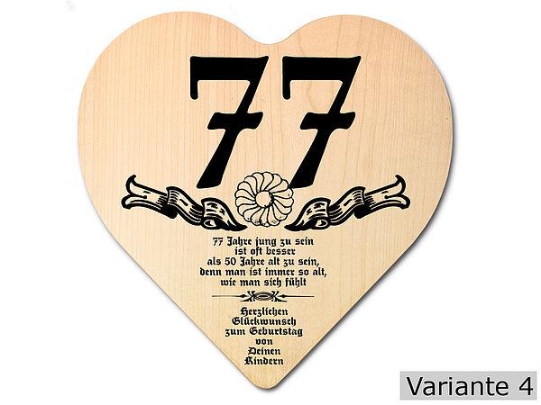 Geschenk zum 77. Geburtstag: Herz Holzschild mit Wunschtext