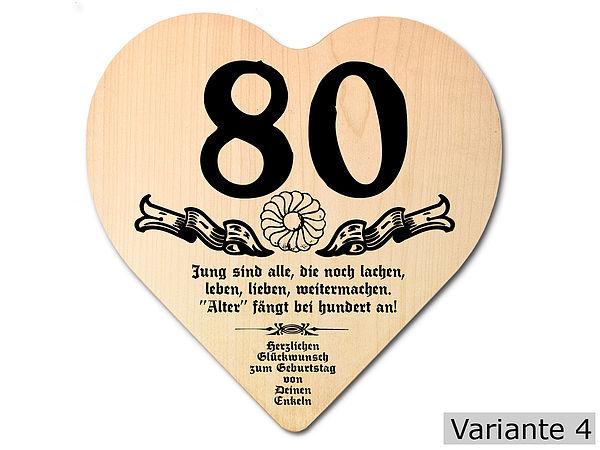 Geschenk zum 80. Geburtstag: Herz Holzschild mit Wunschtext