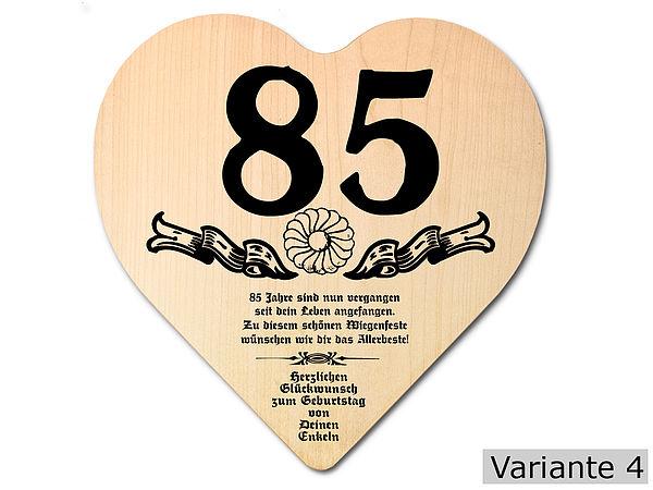 Geschenk zum 85. Geburtstag: Herz Holzschild mit Wunschtext