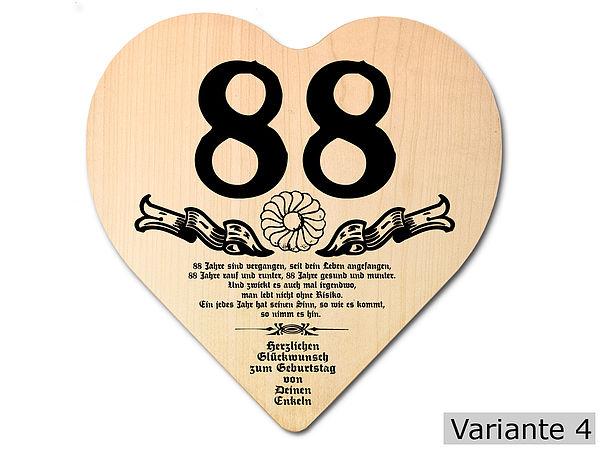 Geschenk zum 88. Geburtstag: Herz Holzschild mit Wunschtext