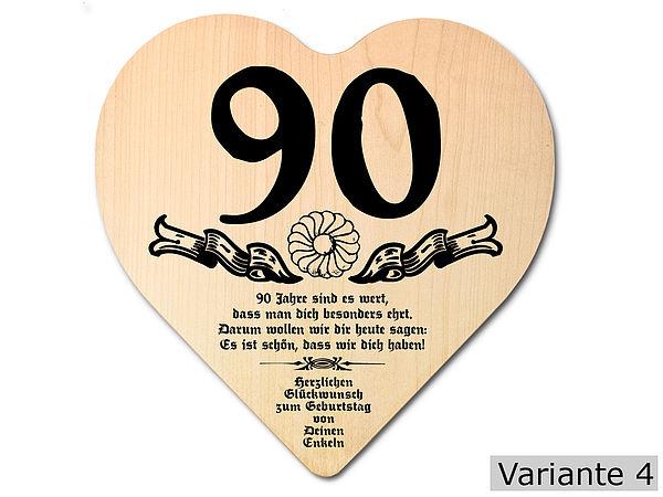 Geschenk Zum 90. Geburtstag: Herz Holzschild Mit Wunschtext
