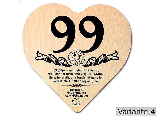 Geschenk zum 99. Geburtstag: Herz Holzschild mit Wunschtext
