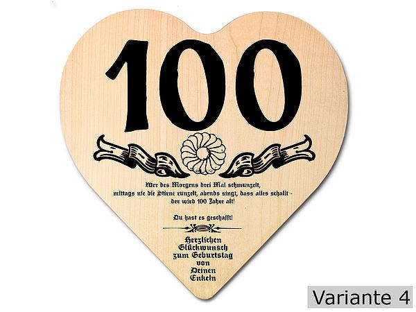 Geschenk zum 100. Geburtstag: Herz Holzschild mit Wunschtext
