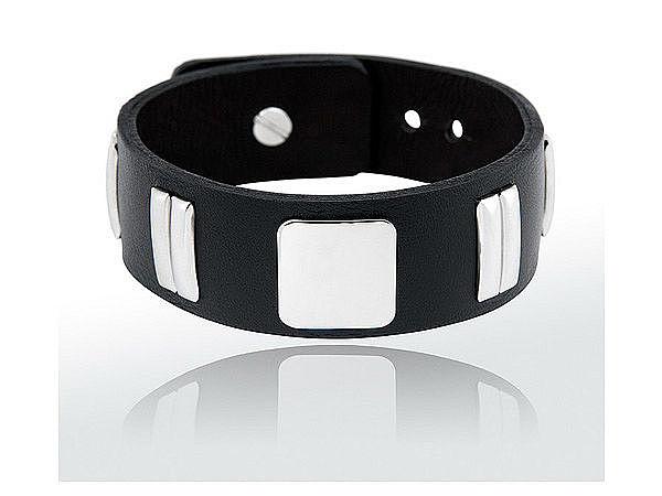 Exklusiv stylisches Armband in Leder und Chrom