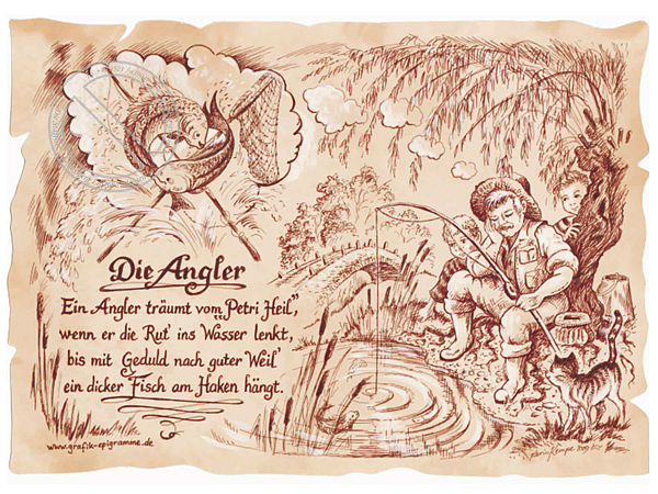 Sportbild Angler auf Antikpapier im A4 Format