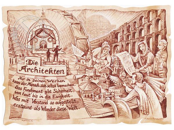 Zunftbild Architekt auf Antikpapier im A4-Format