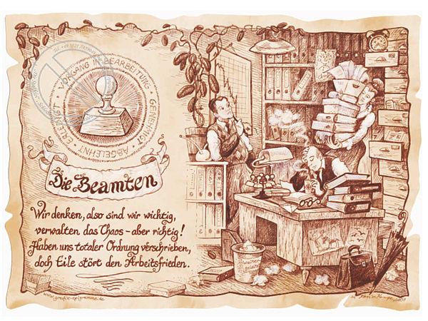 Zunftbild Beamte auf Antikpapier im A4-Format
