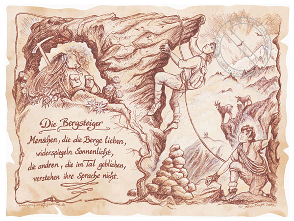 Sportbild Bergsteiger auf Antikpapier im A4-Format