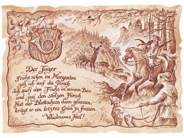 Zu weihnachten zunftbild j ger auf antikpapier im a4 for Billige weihnachtsgeschenke