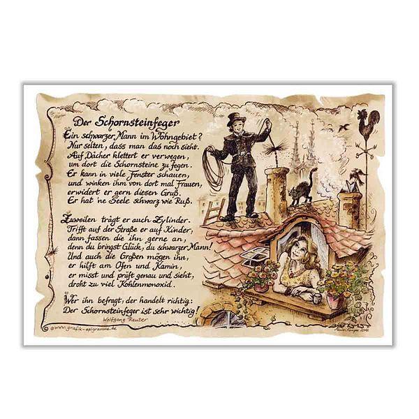 Zunftbild Schornsteinfeger auf Antikpapier im A...
