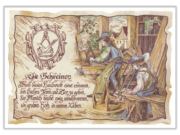 Zunftbild Schreiner auf Antikpapier im A4-Format