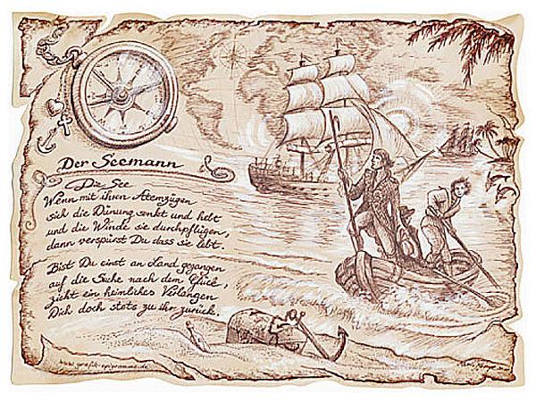 Zunftbild Seemann auf Antikpapier im A4-Format