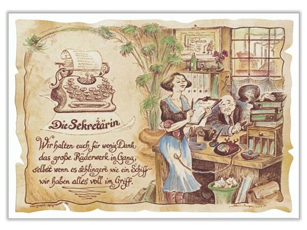 Zunftbild Sekretärin auf Antikpapier im A4-Format