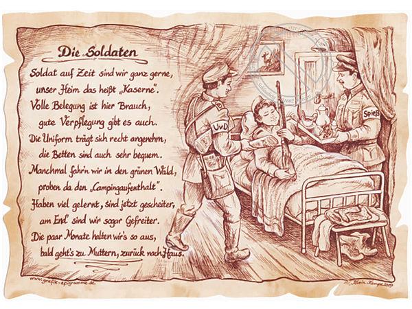 Zunftbild Soldat auf Antikpapier im A4-Format
