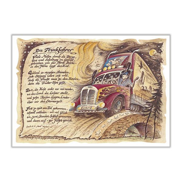 Zunftbild Truckfahrer auf Antikpapier im A4-Format