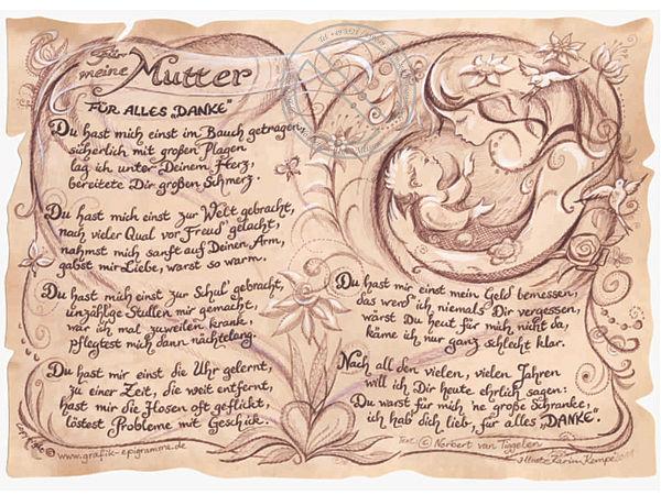 Kunstbild auf Antikpapier im A4-Format - Geschenk für die Mutter