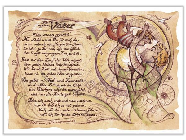 Kunstbild auf Antikpapier im A4-Format - Geschenk für den Vater