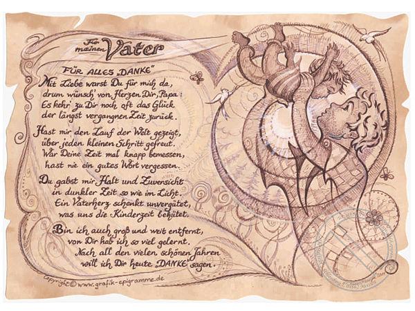 Kunstbild auf antikpapier im a4 format geschenk f r den for Geschenke zum 70 geburtstag vater