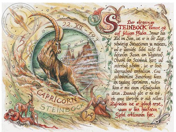 Sternbild Steinbock auf Antikpapier im A4-Format