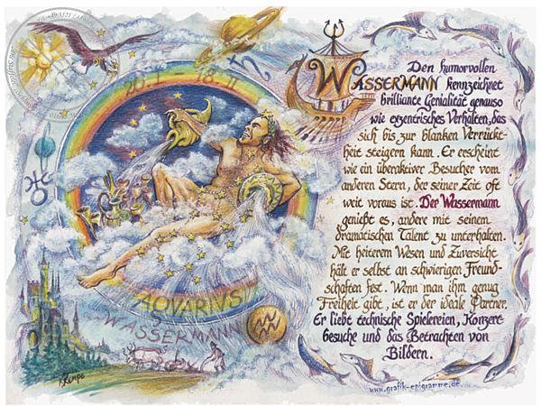 Sternbild Wassermann auf Antikpapier im A4-Format