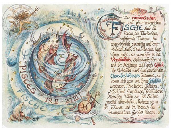 Sternbild Fische auf Antikpapier im A4-Format
