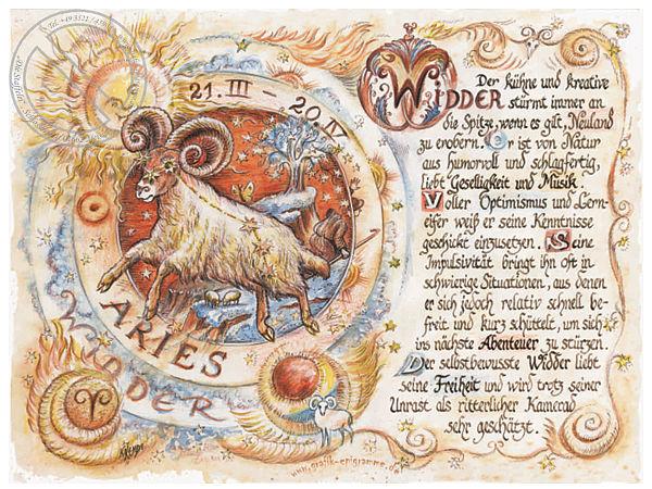 Sternbild Widder auf Antikpapier im A4-Format