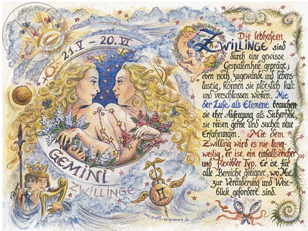 Sternbild Zwillinge auf Antikpapier im A4-Format