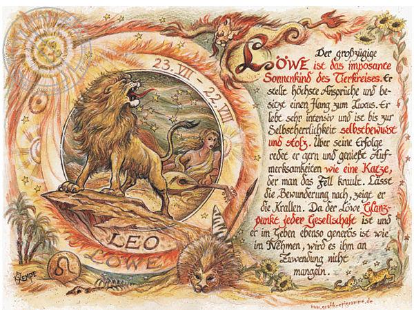 Sternbild Löwe auf Antikpapier im A4-Format