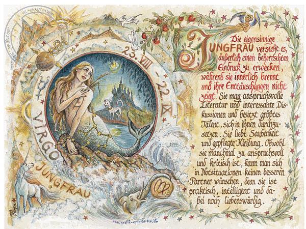 Sternbild Jungfrau auf Antikpapier im A4-Format