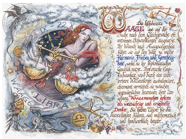 Sternbild Waage auf Antikpapier im A4-Format