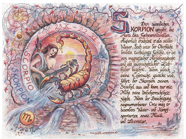 Sternbild Skorpion auf Antikpapier im A4-Format