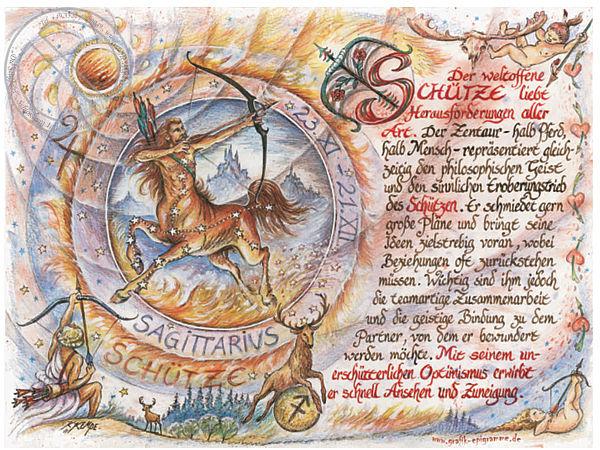 Sternbild Schütze auf Antikpapier im A4-Format