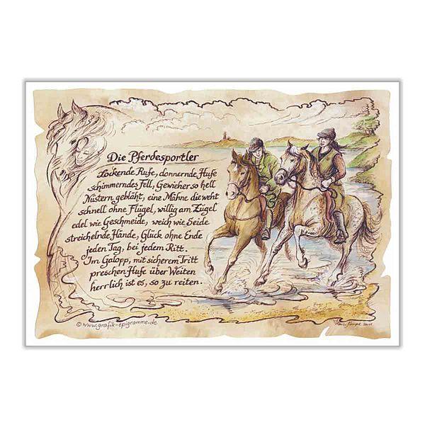Sportbild für Reiter auf Antikpapier im A4 Format