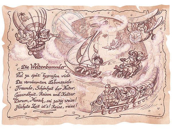 Nützlichdekoration - Kunstbild Weltenbummler auf Antikpapier im A4 Format - Onlineshop 1a Geschenkeshop